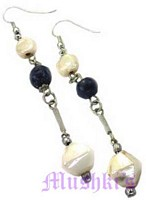 Glass bead hanging earring - click here for large view