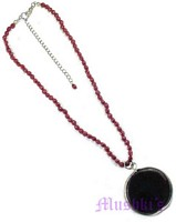 Seed bead with Glass Pendant necklace - click here for large view
