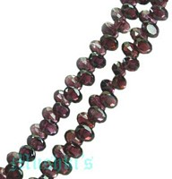 Red Garnet  Flat Oval Faceted Side drilled - click here for large view