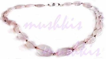 Single Row Rose Quartz Gem Stone Necklace - click here for large view