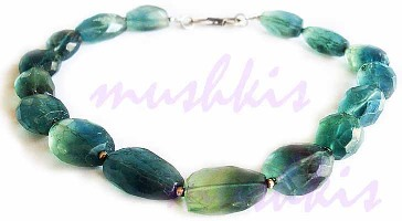 Single Row Fluorite Gem Stone Necklace - click here for large view