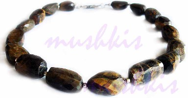 Single Row Tiger Eye Gem Stone Necklace - click here for large view