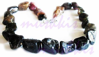 Single Row Tourmuline Gem Stone Necklace - click here for large view