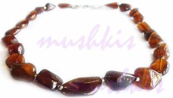 Single Row Jasper  Gem Stone Necklace - click here for large view