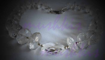 Single Row Crystal Quartz Gem Stone Necklace - click here for large view