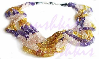 Five Row Multy faceted  Gem Stone Necklace - click here for large view