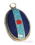 Gemstone enamel silver pendant - click here for large view