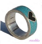 Gemstone powder enamel silver finger ring - click here for large view