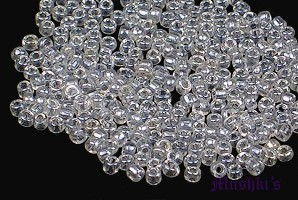 Crystal luster transparent Indian glass seed bead - click here for large view