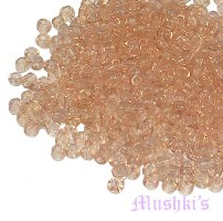 Peach Plain Transparent Indian glass seed bead - click here for large view